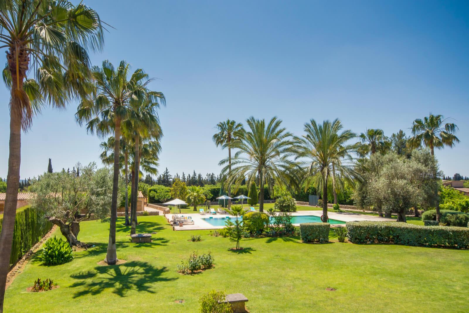 Finca Can Duró Garten mit Palmen